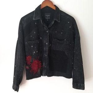 Zara Foral Embroidered Black Demin Crop Jacket M